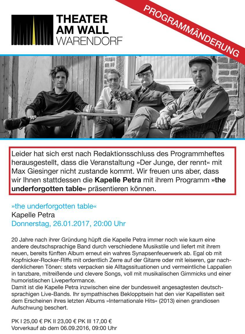 Programmänderungen Spielzeit 2016/2017 © Theater am Wall e. V.